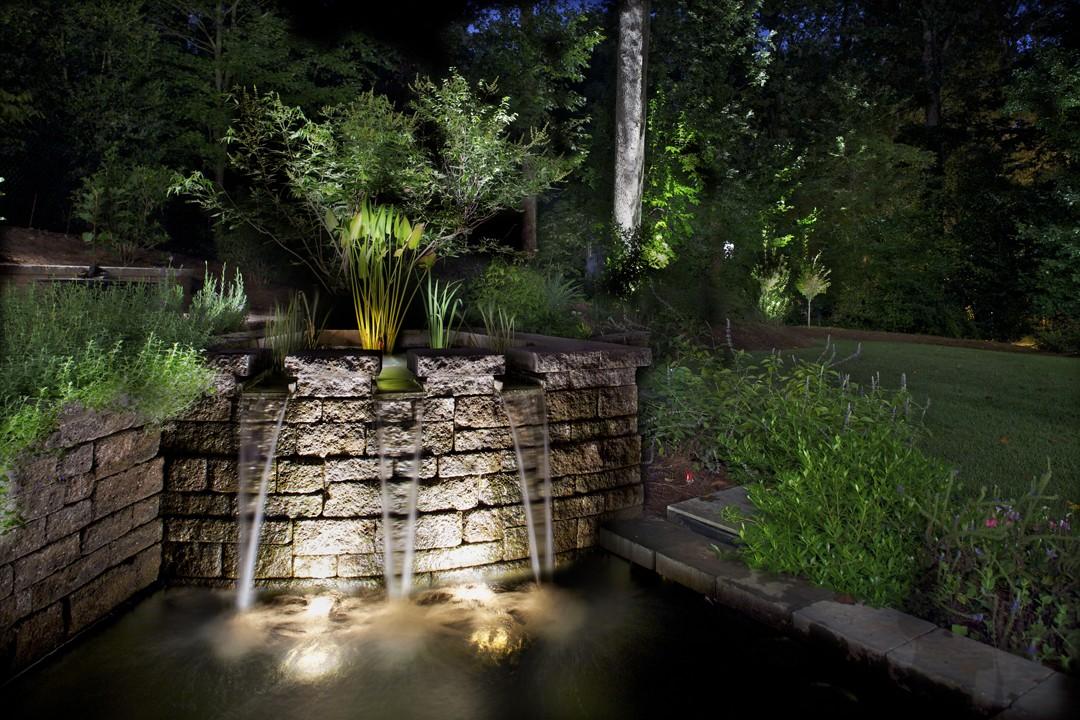 Fountain Koi Pond Waterfall Lighting Lights Raleigh Cary Nc
