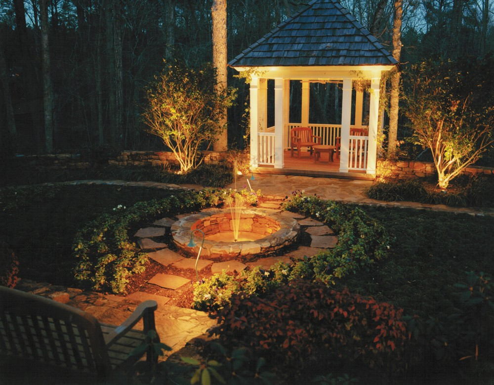 fountain koi pond waterfall lighting lights raleigh. Black Bedroom Furniture Sets. Home Design Ideas
